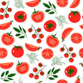 Vector seamless pattern with red tomatoes Great for design of healthy lifestyle or diet For wrapping paper textiles and other food designsVector illustration