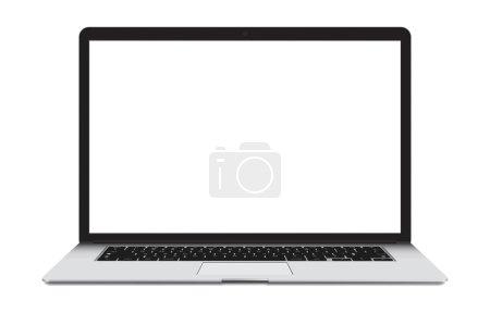 Illustration pour Illustration vectorielle de l'ordinateur portable mince avec écran blanc isolé sur fond blanc, corps en aluminium . - image libre de droit