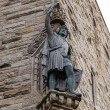Detail of William Wallace statue at The National Wallace Monument in Stirling, Scotland. This singular construction hosts exhibits and displays about the Scottish hero, who is known worldwide as Braveheart.
