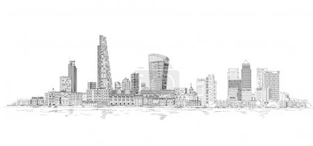 Photo pour Londres moderne. Ville de Londres et Canary Wharf avec grue et chantiers de nouveaux développements - image libre de droit