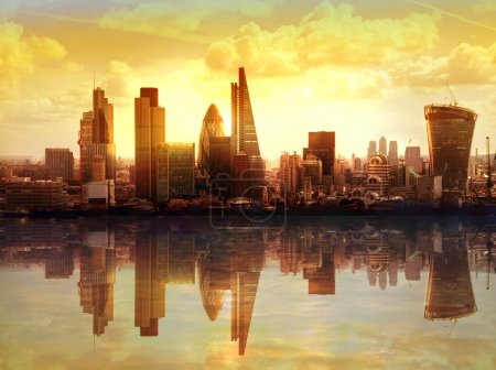 Photo for London sunset. View on business modern district - Royalty Free Image