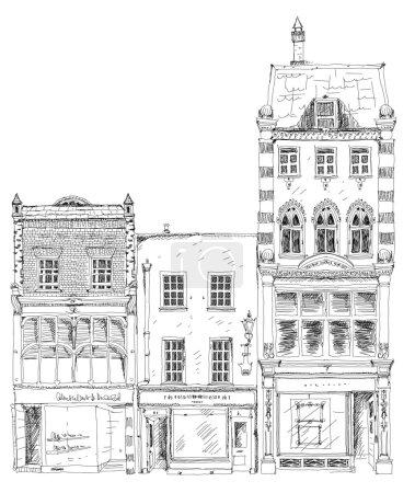 Foto de Casas de pueblo inglés antiguos con pequeñas tiendas o negocios en planta baja. Bond street, Londres. Colección de dibujo - Imagen libre de derechos