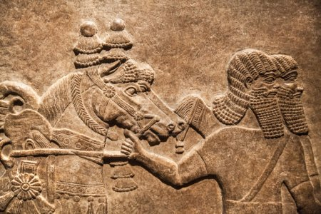 LONDON, UK - NOVEMBER 30, 2014: British museum. Hunting relief from Palace of Assurbanipal in Nineveh, Assyria