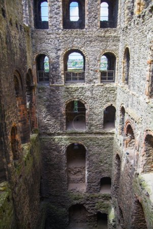 Rochester Castle 12th-century. Inside view of castle's ruined palace walls and fortifications