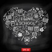 Chalk board I love school in the form of heart