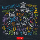 Doodle business icons set on chalk board