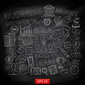 Doodle business icons on  chalk blackboardwith:diagrams humans ideas bulbs email document calculator money briefcase computer search building watches percentage arrow wallet credit card checkmark
