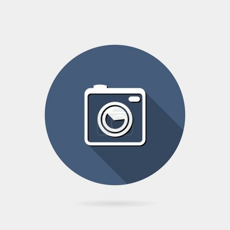 Flat icon photo or camera icon with long shadow