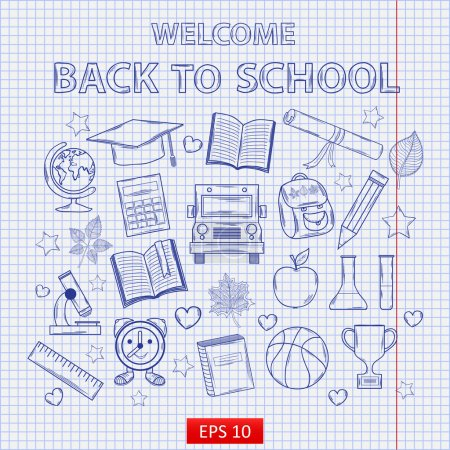 Scrap set Back to school on the notebook sheet