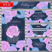 Wedding set Retro Wedding invitation card with roses