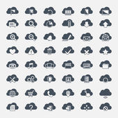 Big vector set of forty-six black cloud  shapes with icons