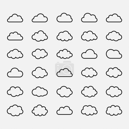 Illustration for Big vector set black cloud shapes, cloud icons for web and app, for cloud computing and so on over white - Royalty Free Image
