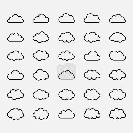 Big vector set black cloud shapes, cloud icons for...