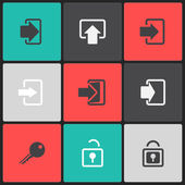 Vector login web icon set on a color square