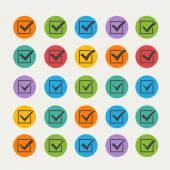 Set of twenty-five different black vector ticks or check marks i