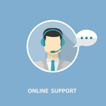Illustration for Vector online support concept in flat stile with man on a blue background - Royalty Free Image