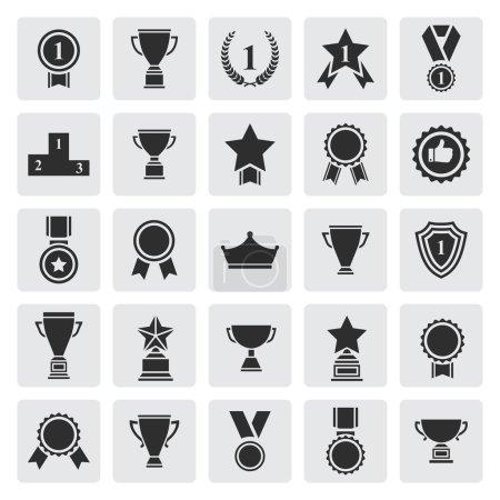 Big set of black vector award success and victory icons