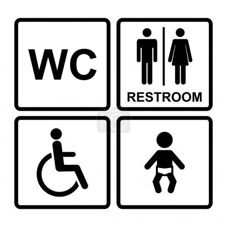Vector  black restroom icons