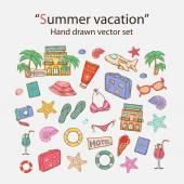 Summer vacation doodle set.