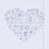 Healthy lifestyle heart on the notebook sheet with bicyclecarrot orangegrapefruitjuicemilksportsapplepepperjump ropesneakersfishvitaminsmeasuring tapecupleafearth