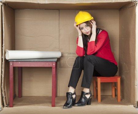 Breakdown at work, business woman...