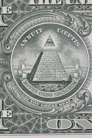 Photo pour Partie d'un billet d'un dollar avec macro grand sceau - image libre de droit