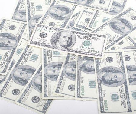 Photo pour Lot fo dollars américains fond de trésorerie, argent diversifié dans le monde entier gros plan - image libre de droit
