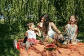 Roztomilý šťastná rodina na piknik na zelené trávě matka a děti, teplé letní dovolenou blízko nahoru, bratr a sestra