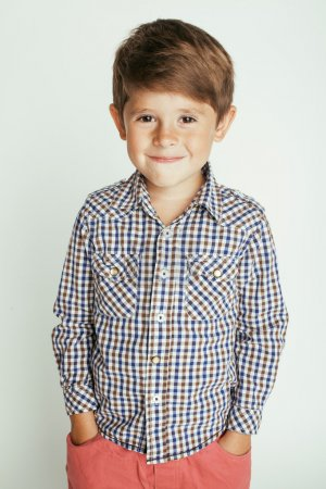 little cute boy on white background