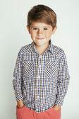 little cute boy on white background