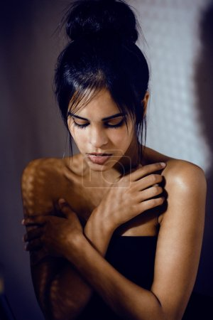 Photo for Beauty latin young woman in depression, hopelessness look, fashion makeup, lifestyle people concept - Royalty Free Image