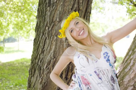happy blond young woman