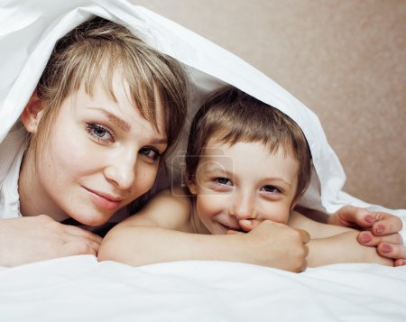 mother and son, happy family