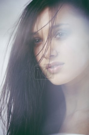 young attractive brunette woman, fashion fresh trend concept