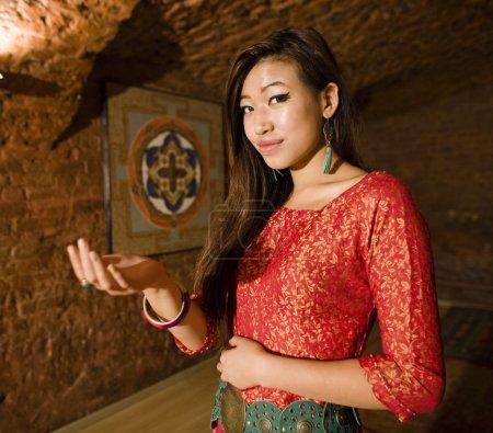beauty asian girl greeting in spa salon