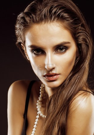 beauty young  woman with jewellery close up, luxury portrait of rich real girl, party makeup