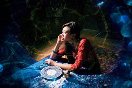 Woman in bright colored interior