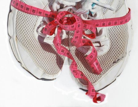 shabby elder training shoes with measuring tape like a gift