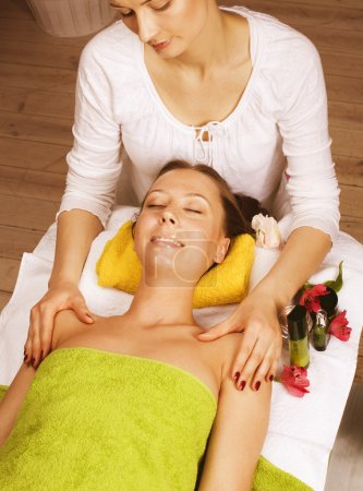 Photo for Stock photo attractive lady getting spa treatment in salon - Royalty Free Image