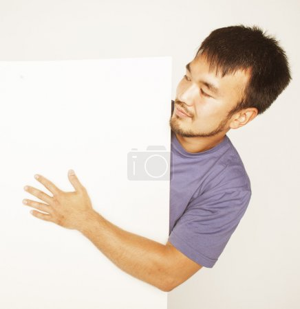 pretty cool asian man holding empty white plate smiling