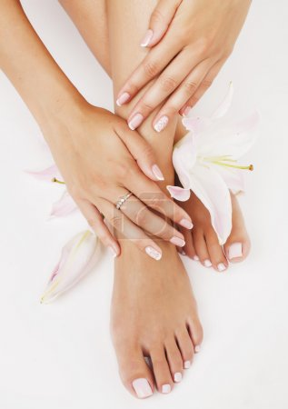 Photo pour Manucure pédicure avec lily fleur gros plan isolé sur salon de spa mains blanc parfait état - image libre de droit