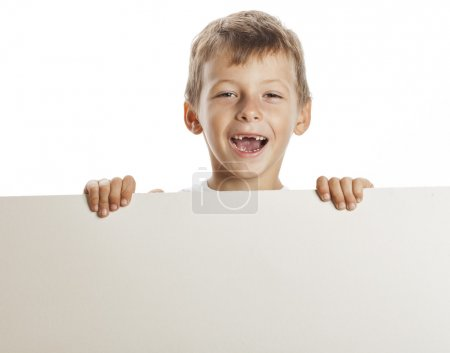 Photo for Little cute boy holding empty shit to copyspace isolated close up gesturing smiling adorable - Royalty Free Image