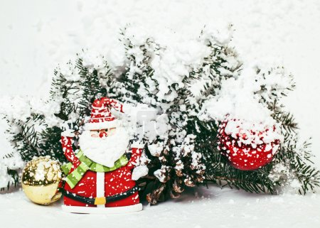 new year celebration, Christmas holiday stuff, tree, toys, decoration with snow