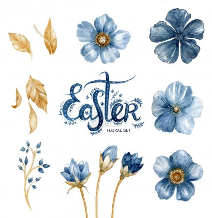 Floral watercolor set with flowers, leaves and hand drawing letters (word Easter).
