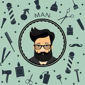 Barber shop vintage seamless background with barber's tools