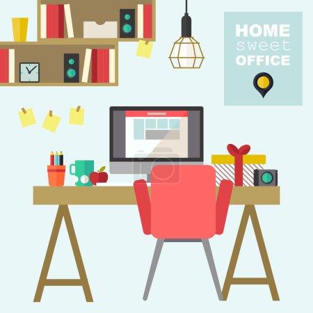 Illustration for Home office flat interior illustration - Royalty Free Image