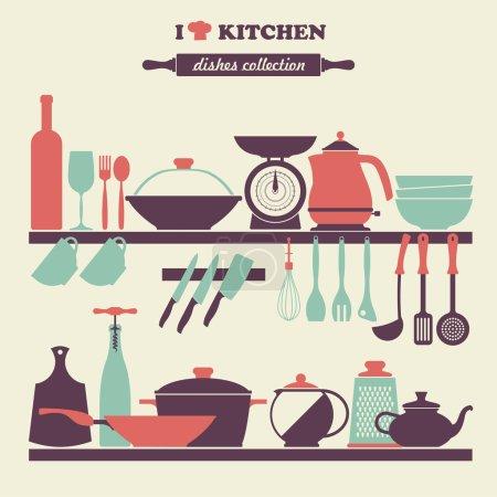 Illustration for Vintage kitchen dishes icons set illustration - Royalty Free Image