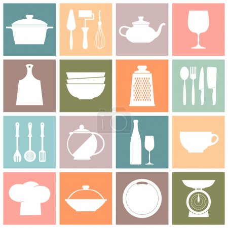 Cooking and kitchen dishes icons