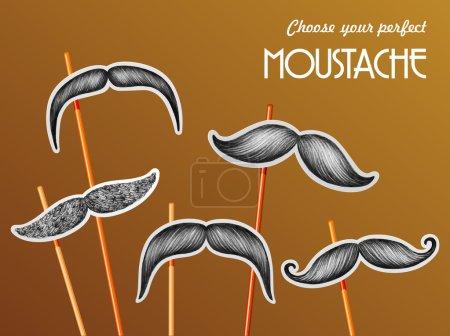 Mustache sticker set