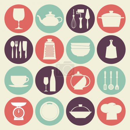 Vintage kitchen dishes icons set
